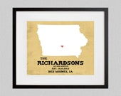 Iowa  -  Rustic Style Personalized State Map Art Print - 8.5x11 - also available in 13x19, 11x14, and 5.5x8.5 - see listing details