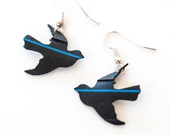 Energetic Inner Tube jewelry, upcycled Black and Blue Eco Friendly Sporty Bike Tube Bird Earrings
