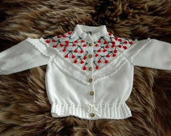 Hand knit girl cardigan with cherries in undyed soft merino yarn  READY TO SHIP