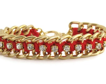 Red Woven Chain and Rhinestone Bracelet