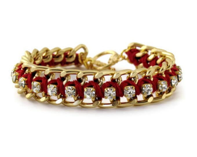 Chain & Rhinestone Bracelet - Dark Burgundy Red and Gold Woven