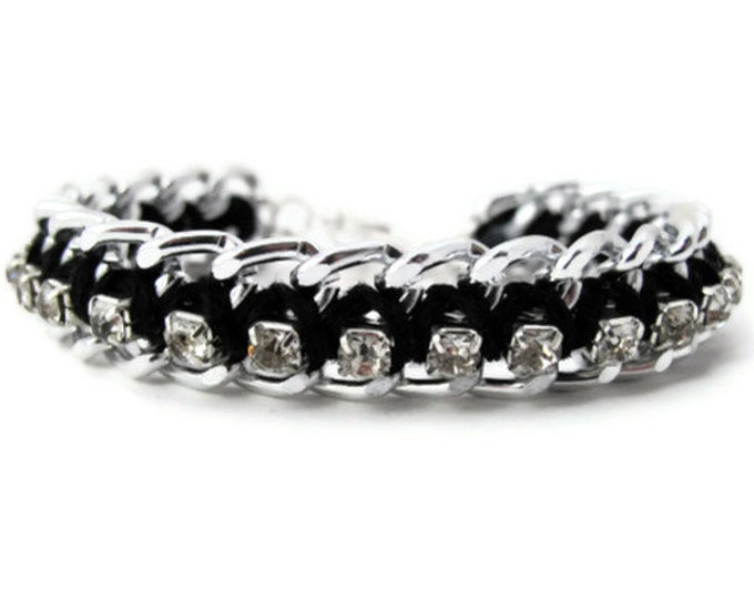 Black and Silver Woven Chain Rhinestone Bracelet