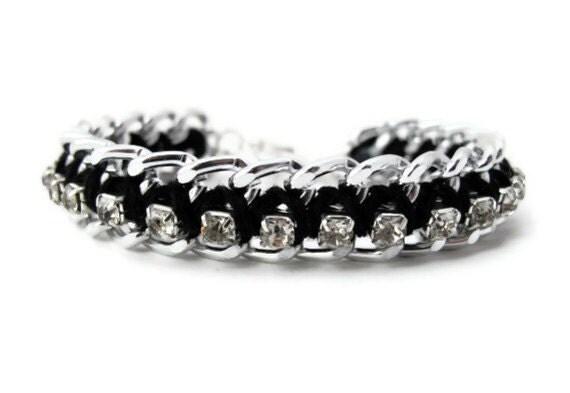 Black and Silver Woven Chain Rhinestone Bracelet