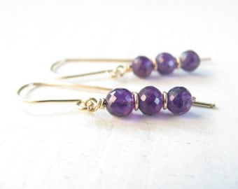 Amethyst earrings gold filled, Amethyst gemstone earrings, bridal earrings, purple gemstone earrings