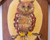 Vintage Original Owl Painting on Wood - Great Horned Owl