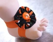 Candy Corn Halloween Tootsies Handmade Baby Barefoot Sandals With Matching Embelishments One Pair