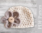 INSTANT DOWNLOAD - PDF Pattern Crocheted Baby Girl Hat with a Flower