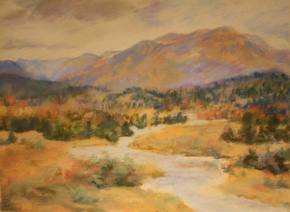 Mountain River, Original Soft Pastel Painting, Landscape Art, Fine Art, 12x16