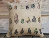 Seashells Pillow, Throw Pillow, Nautical Cushion, Beach Decor, Accent Pillow, Beach Cottage