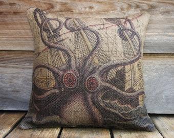 Octopus Pillow, Throw Pillow, Nautical Cushion, Beach Decor, Accent Pillow, Purple, Beige, Blue
