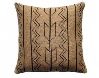 Southwestern Pillow, Black and Beige Decorative Throw Pillow, Rustic Arrow Pillow