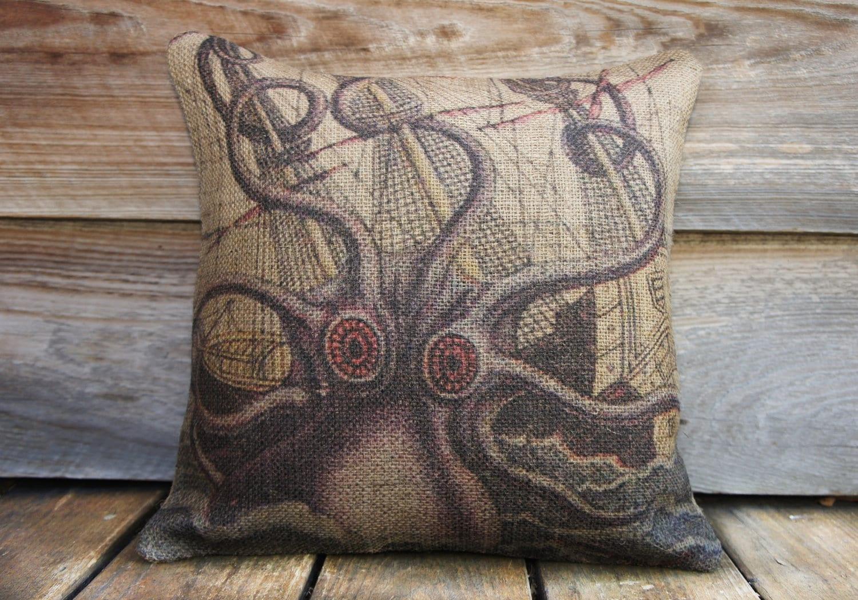 octopus pillow throw pillow nautical cushion beach decor  - octopus pillow throw pillow nautical cushion beach decor accent pillowpurple beige blue