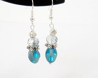 Clearance SALE Blue and Silver Dangel Fish Hook Earrings