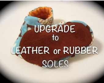 """UPGRADE ONLY Leather Soles or Rubber/Neoprene Soles for baby shoes listed in """"jengalaxy"""""""