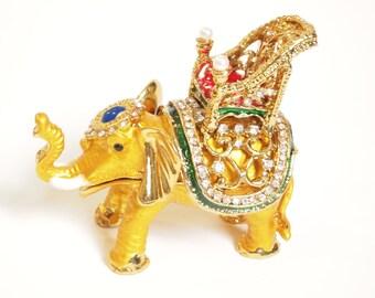 Elephant Showpiece & Surprise Gift Holder Golden Enamel CZ Stone Decorated