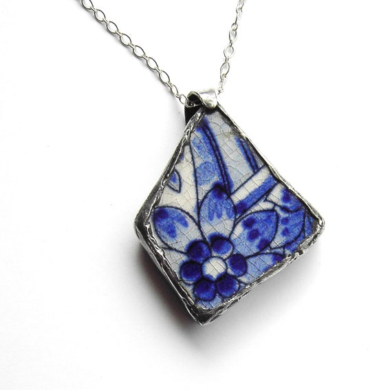 Blue and white recycled ceramic flower necklace