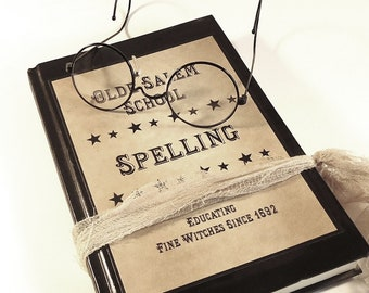 Salem Witches Spell Book Cover, digital file, instant download