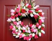 Pink and White Tulip Wreath, Spring Wreath, Summer Wreath, Grapevine Wreath, Outdoor Wreath, Front Door Wreath, Mother's Day