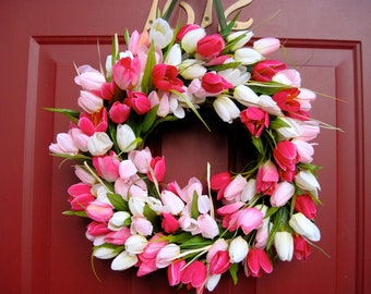 Pink and White Tulip Wreath, Spring Wreath, Summer Wreath, Grapevine Wreath, Outdoor  Wreath, Valentines Wreath, Mother's Day