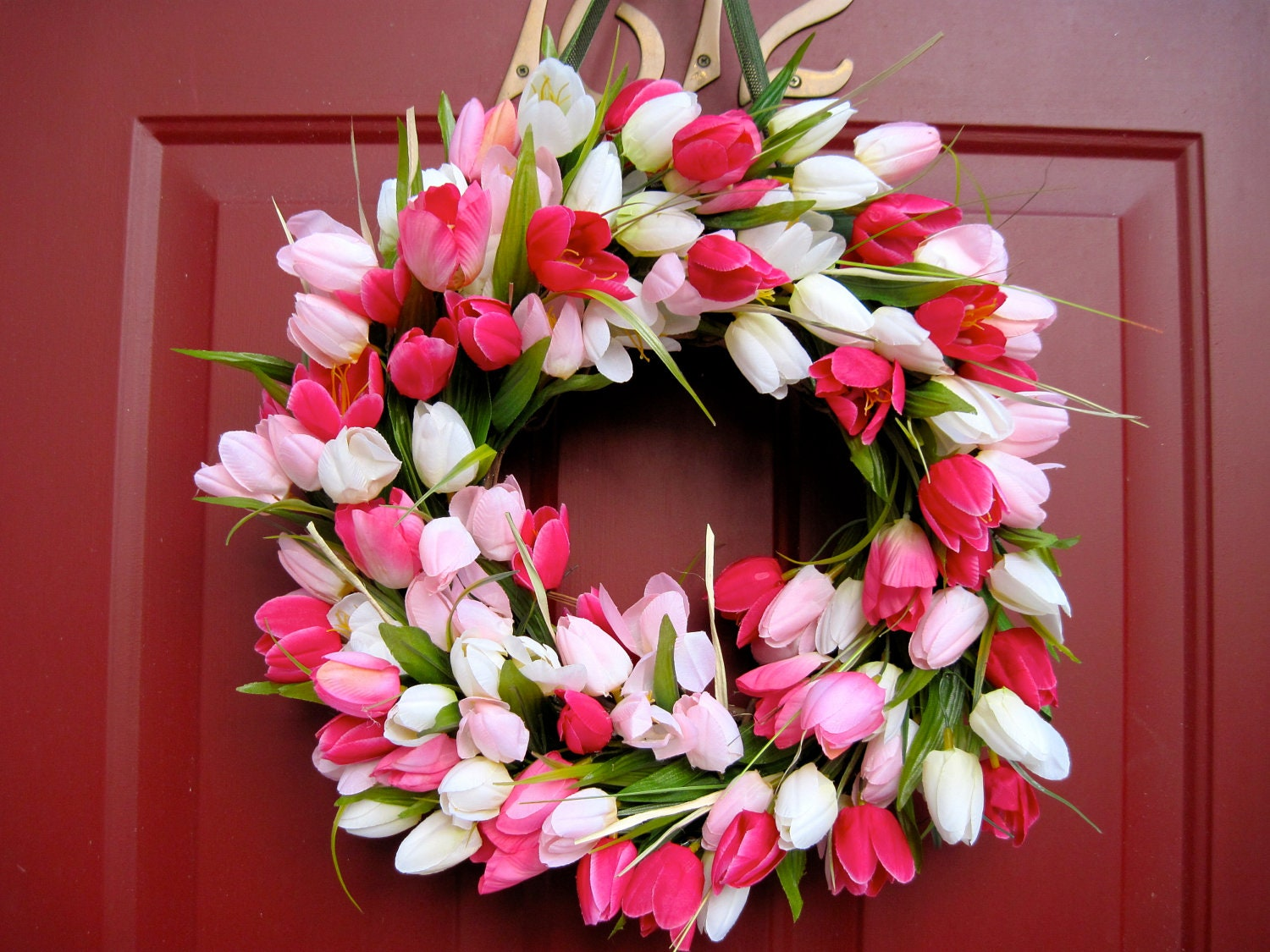 Pink And White Tulip Wreath Spring Wreath Summer Wreath