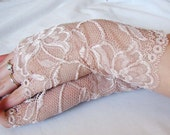 Lace Fingerless Gloves: Pale Pink, Nude, Victorian, Blush colored lace gloves, Nude, Sexy, Fetish,Steampunk