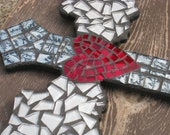 Silver White Angel Wing Red Heart Mosaic Wall Cross
