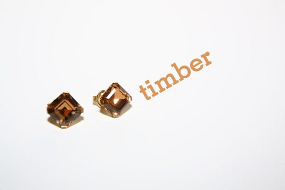 large emerald square cut brown amber clip on earrings trifari