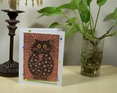 Turquoise Polka Dot Cat Linocut Notecard
