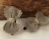LINEN BABY CLIPS, Handmade Linen Bow Girl Clips, Baby Girl Gift - ManCrochets