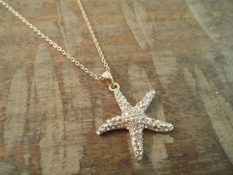 Rhinestone Starfish Necklace Gold Starfish Necklace Beach