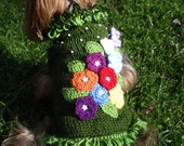 Hand Knit Green Dog Sweater with Crochet Flowers