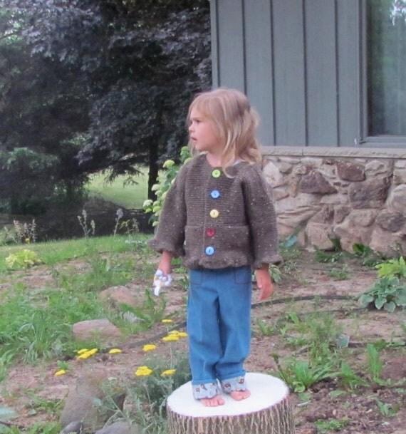 Little Girls Cardigan Sweater in Chocolate Brown Tweed 2 to 3T