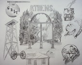Customized Athens, Georgia Collage Original 11 X 14 Framed Pencil Drawing - UGA Arch and Surrounding Landmarks