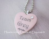 Heart Shaped Necklace Team Grey Scrabble Tile Pendant Pale Pink Christian Christmas Stocking Stuffer Fifty