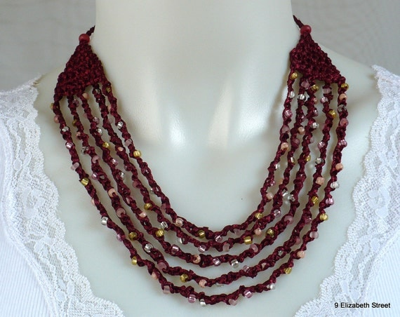 Crocheted Beaded Necklace, hand made bohemian necklace, satin ribbon & glass beads