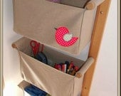 Wall organizer - with 3 pockets - beige colour linen cotton and cute red bird applique sewed on