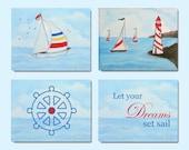Nautical Nursery, SET OF 4 Art Prints, Nautical Decor, Nursery Wall Art, Nursery Decor, Nautical Kids Room, Children Decor - handpainting