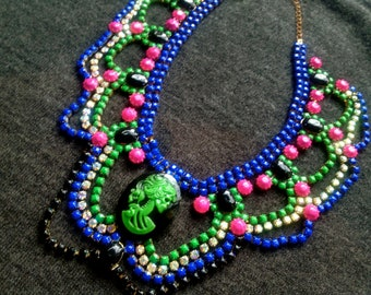 Custom Vintage Hand Painted Cameo Rhinestone Statement Necklace - Dannijo look