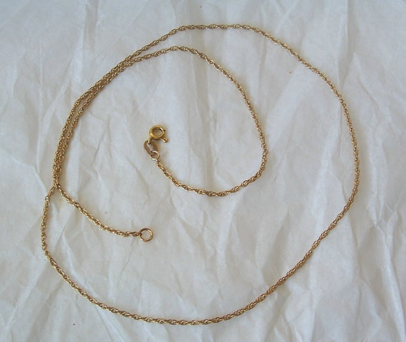 Delicate 10k VNS Gold Rope Style Chain Necklace 18""