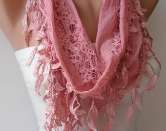 CHRISTMAS, HOLIDAY GIFT, Gifts For Her, Gifts For Women New Scarf - Trendy - Lace Scarf in Rose Pink with Trim Edge