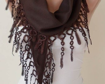 New - Valentine's Day Gift - Brown Pashmina Scarf with Brown Trim Edge