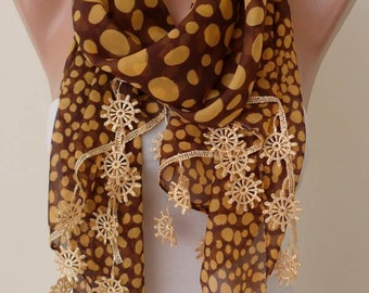 Mother's Day Gift - Brown and Golden - Silk - Chiffon with Golden Trim Edge - Polka Dots