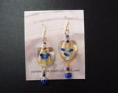 WVU Blue & Gold Glass Heart Earrings