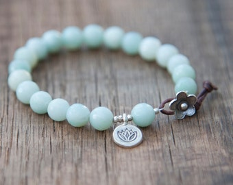 Beaded Bracelet - Amazonite Yoga Bracelet -Thai Silver Lotus Charm - Leather and Thai Silver Flower Closure