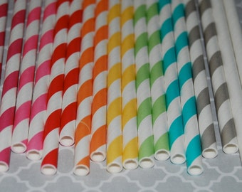 "25 extra long soda bottle  stripe paper straws -  YOU PICK COLORS -  with free blank Flags.  See also - ""Personalized"" flags option."