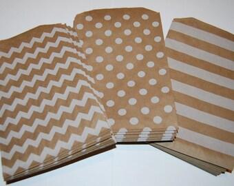 Party Favor Bags - Chevron Paper Treat Bags - Bakery Bags 7x5 medium size - You choose color - 20 count