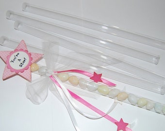 "magic wand tubes - 12"" Long Clear Plastic tubes with caps - Qty 100 - use  party favors shower favors birthday shower - quick and easy gifts"