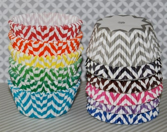 Chevron cupcake liners  - baking cups muffin cups standard size grease proof cupcake cups cupcake wrappers  - YOU PICK COLORS