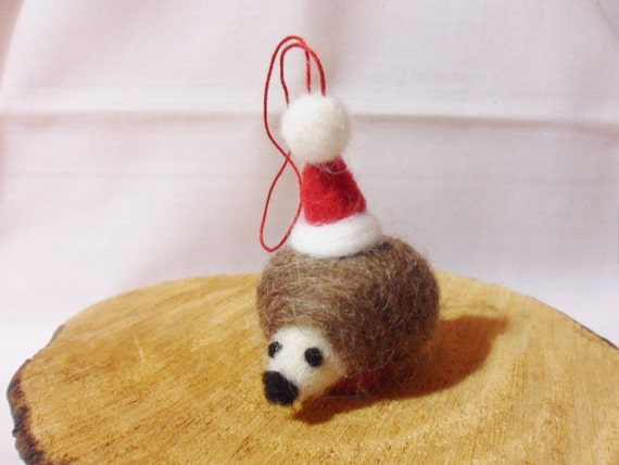 Needle Felted Christmas Hedgehog - Christmas Ornament - shetland & Finnish wool - needle felt hedgehog