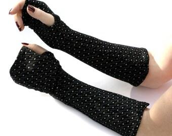 Soft Black  with White Dots  Fingerless Gloves -  Arm Warmers , Gloves , Hand Warmers , Cuffs , Victoriian , Goth , Cotton
